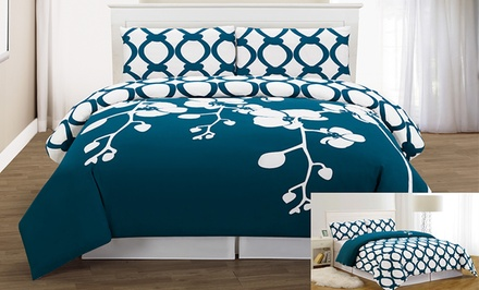 April Orchidea 3-Piece Reversible Duvet-Cover Set