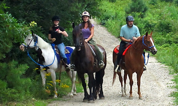 Cowboy Jim's Western Adventures - Plymouth: 60-Minute Guided Horseback Trail Ride for One or Two from Cowboy Jim's Western Adventures (Up to 57% Off)