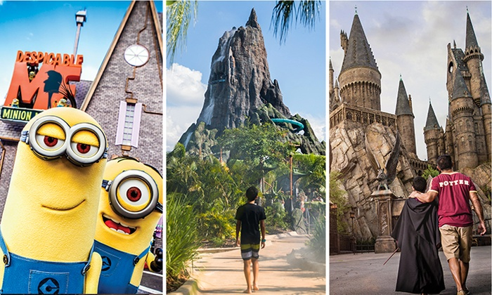 Collage of minions, World of Harry Potter at Universal Studios Florida