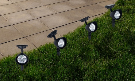 Set of 4 Outdoor Solar-Powered Spotlights