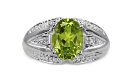 2.16 CTTW Genuine Oval Peridot and Diamond Split Shank Ring in Solid Sterling Silver