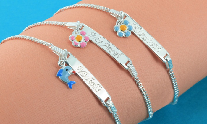 Monogram Online: $24.99 for a Personalized Sterling-Silver Kids' Bracelet with Pendant from Monogram Online ($69 Value)