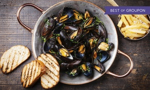 Bistro 1902: All-You-Can-Eat Mussel Dinner with Fries and Unlimited Wine for Two or Four at Bistro 1902 (61% Off)