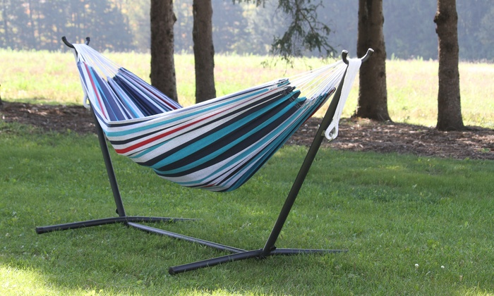 cotton double hammock with stand   groupon goods  rh   groupon