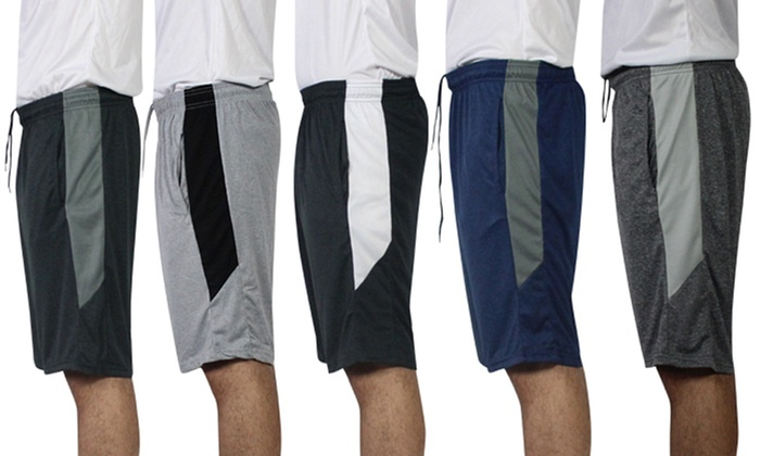 Real Essentials Men's Dry Fit Active Athletic Performance Shorts (5-Pack