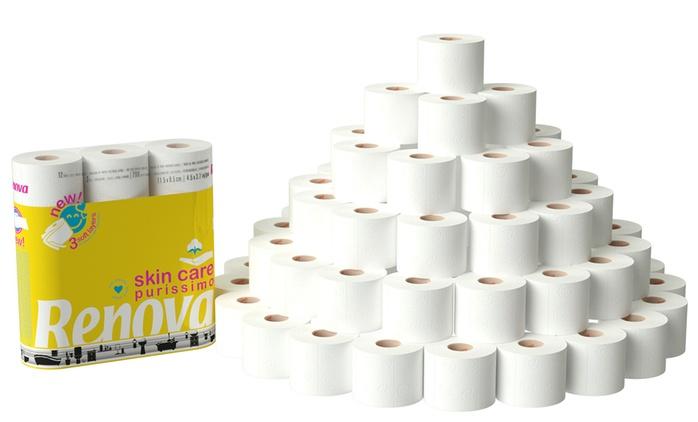 60 oder 120 Rollen Renova Lotion Skincare Toilettenpapier