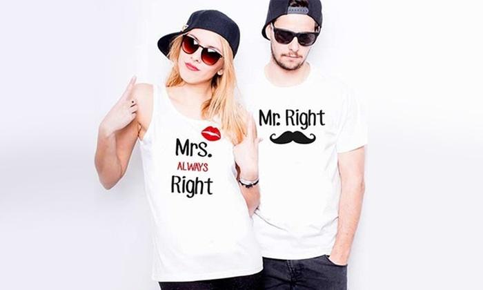 d261d7711 Koszulki z nadrukiem dla pary | Groupon