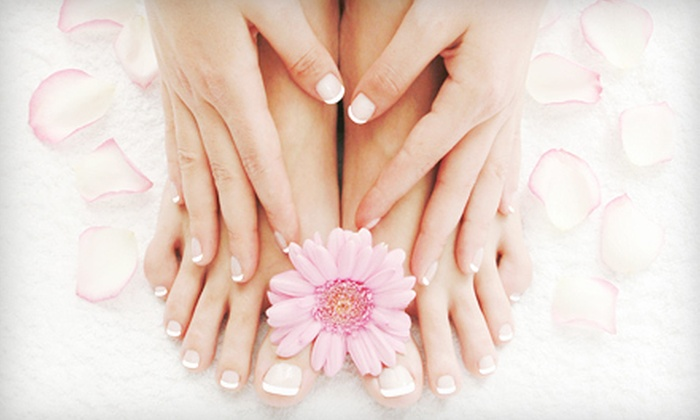 Kalon Mind & Body Day Spa - Terry Sanford: One or Two Deluxe Spa Mani-Pedis with Detox Foot Mask & Hot-Rock Treatment at Kalon Mind & Body Day Spa (Up to 56% Off)