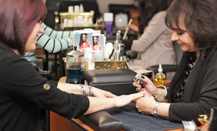 One or Two Classic Mani-Pedis or One Shellac Mani-Pedi at a. Salon Galleria & Spa (Up to 54% Off)