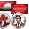 Justin Trudeau Colorized Royal Canadian Mint Medallion 2-Coin Set