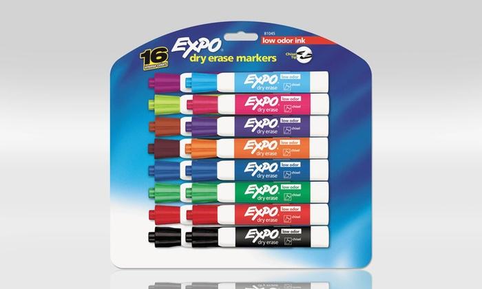 Expo Low-Odor Dry-Erase Marker 16-Pack: 16-Pack of Expo Low-Odor Dry-Erase Markers in Assorted Colors. Free Returns.