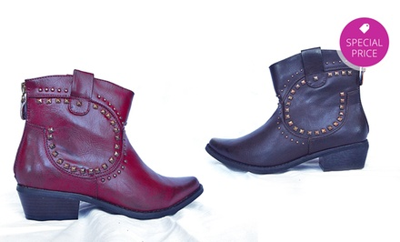 Electric Karma Country Back-Zip Ankle Boots in Black, Brown, or Red