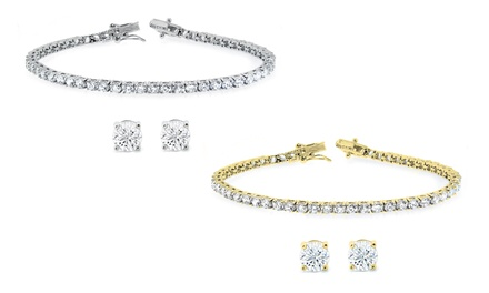 Stud Earrings and Tennis Bracelet Set with Swarovski Elements