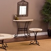 Belladora Stone Round End Table, Round Coffee Table, or Console Table