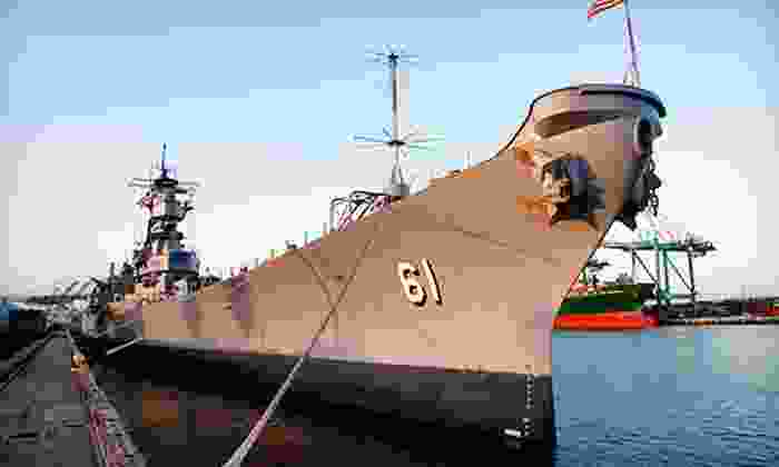 """Battleship Iowa - LA Waterfront / San Pedro: Self-Guided Tour for Two or Four on the USS """"Iowa"""" (Up to 53% Off)"""