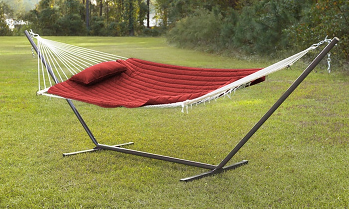 Up To 53 Off On Hammock W Pad Stand Pillow Groupon Goods