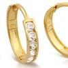 14K Gold CZ Diamond Cut Hoop Earrings