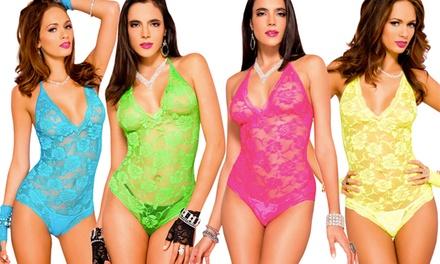 Women's Neon Stretch Lace Halter-Top Teddy