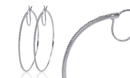 Diamond Accent Hoop Earrings in Sterling Silver