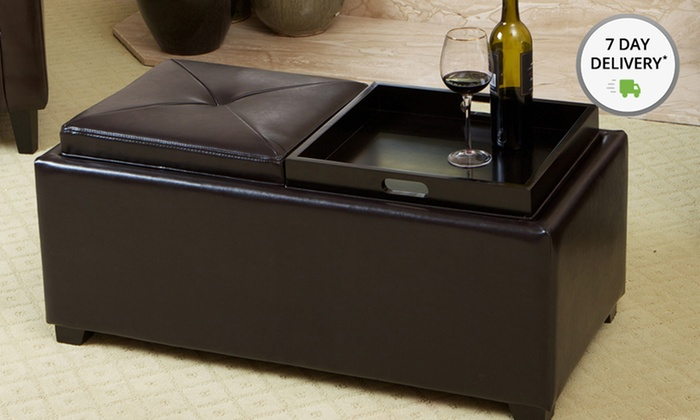 Contemporary Double Tray Top Ottomans: Contemporary Double Tray Top Ottomans. Multiple Colors Available. Free Returns.
