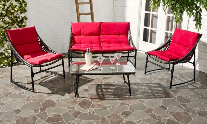 4pc rattan outdoor furniture set groupon goods for Outdoor furniture groupon