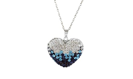 Montana Blue Swarovski Elements Heart Pendant in Sterling Silver