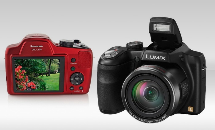 Panasonic LZ30 16MP, 35X Zoom SLR-Style Camera: Panasonic LZ30 16MP SLR-Style Camera in Black or Red. Multiple Colors Available.