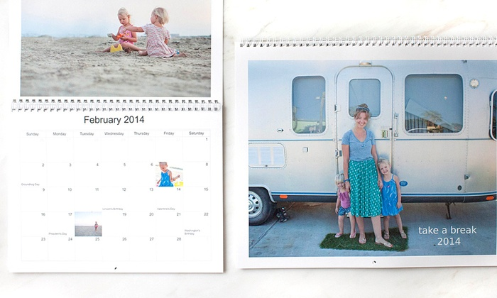 """Picaboo: One or Two 11""""x9"""" Custom Photo Calendars from Picaboo(Up to 59% Off)"""