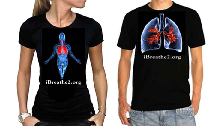 iBreathe2 - East Atlanta: Lung-Cancer Awareness T-shirt in Small, Medium, Large, or Extra-Large from iBreathe2 (Half Off). Four Styles Available.
