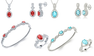 Gemstone And Diamond 4-piece Jewelry Sets. Multiple Colors And Styles Available.