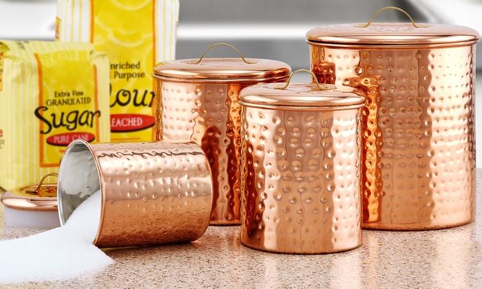 Old Dutch Hammered Copper Kitchen Canister Sets Groupon