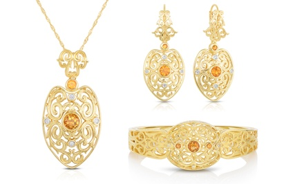 Diamond & Citrine Jewelry in Gold Over Silver for $52.99–$59.99