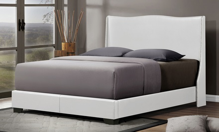 Queen-Size Upholstered Wingback Platform Bed