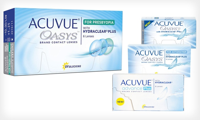 Acuvue Contact Lenses: Six Pairs of Acuvue Contact Lenses from PostalContacts.com (Up to 44% Off). Four Options Available.