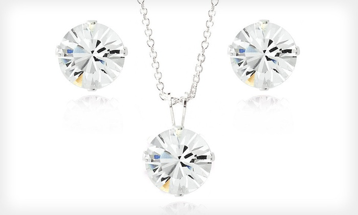 Earrings and Pendant-Necklace Set: $18 for One Pair of Earrings and Necklace Made with Swarovski Elements ($75 List Price). Free Returns.
