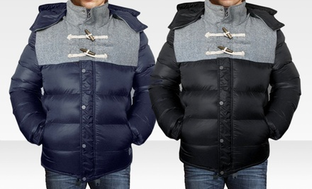 Denim Style Imperial Puffer Jacket in Black or Navy