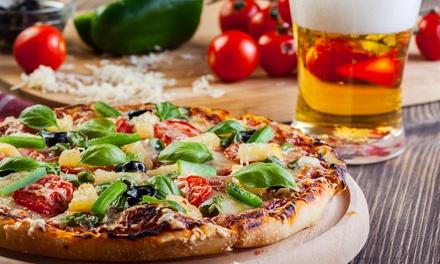 Menu pizza gourmet con birra