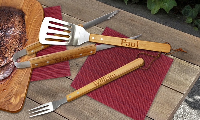 Monogram Online: Personalized Bamboo Barbecue Fork, Tongs, or Spatula from Monogram Online (Up to 57% Off)