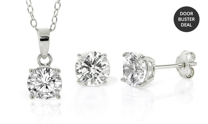 Sterling Silver Cubic-Zirconia Solitaire Necklace-and-Earrings Set: Sterling Silver Cubic-Zirconia Solitaire Necklace-and-Earrings Set. Free Returns.