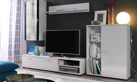 armoires murales avec meuble tv groupon. Black Bedroom Furniture Sets. Home Design Ideas