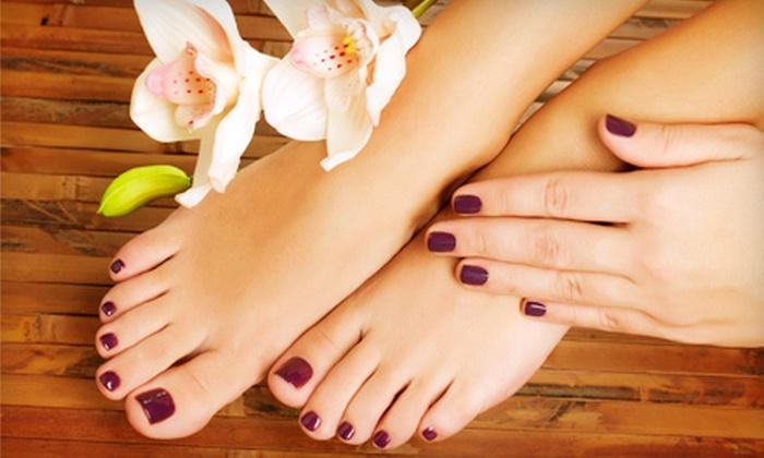 Aye Salon & Spa - Elk Grove: One or Three Basic Mani-Pedis, or Gel Manicure with Signature Pedicure at Aye Salon & Spa (Up to 53% Off)