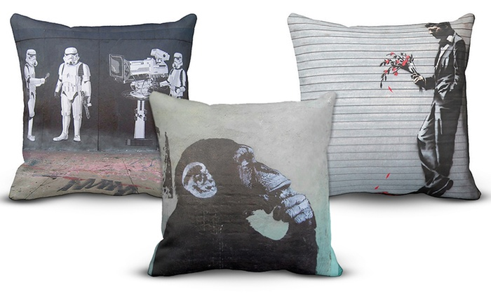 Throw Pillow Deals : Up To 79% Off on Banksy Decorative Throw Pillow Groupon Goods