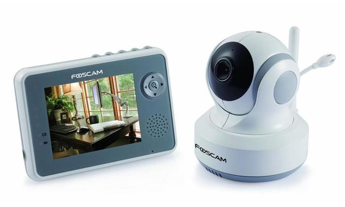 """Foscam 2.4 GHz Digital Video Monitor: Foscam FBM3501 2.4 GHz Digital Video Monitor with Pan-Tilt Camera and 3.5"""" LCD Screen."""