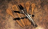 5-Piece Cuisinart Bamboo Utensil Set and Stainless Steel Tongs