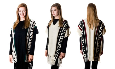 Women's V-Neck Abstract Patterned Poncho