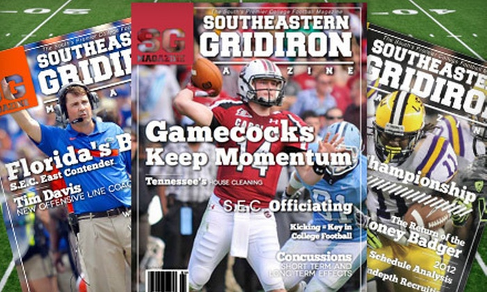 "Southeastern Gridiron Magazine - Charleston: One-Year Silver or Gold or Two-Year Gold Subscription to ""Southeastern Gridiron Magazine"" (Up to 75% Off)"