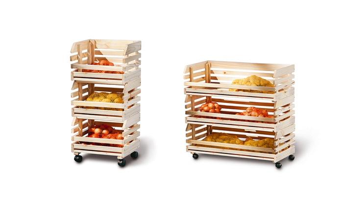 Carrello portatutto in legno groupon goods - Carrello portafrutta legno ...