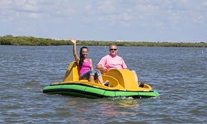 Hidden Treasure Tiki Bar & Grill: $29 for Two Half Hour Pedal Boat Sessions for Up to Two at Hidden Treasure Tiki Bar & Grill ($55 value)