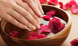 Primpt & Polished Hair and Nail Boutique: $24 for a Shellac Manicure with Scrub, Massage, and Hot Towels at Primpt & Polished Hair and Nail Boutique ($45 Value)