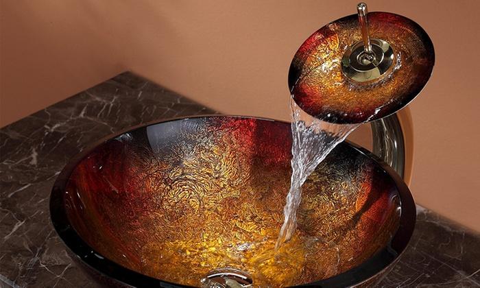 Kraus Glass Vessel Bathroom Sinks And Waterfall Faucets: Kraus Glass Vessel  Bathroom Sinks And Optional ...